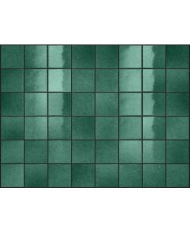 Carrelage effet zellige vert brillant nuancé, grès cérame piscine, salle de bain, 10x10cm, 5x5cm voriflessi emeraude