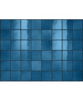 Carrelage effet zellige bleu brillant nuancé, grès cérame piscine, salle de bain, 10x10cm, 5x5cm voriflessi saphir