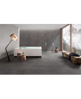 Carrelage salle de bain imitation pierre moderne 90x90cm rectifié,  santastone dark  au sol et au mur R10