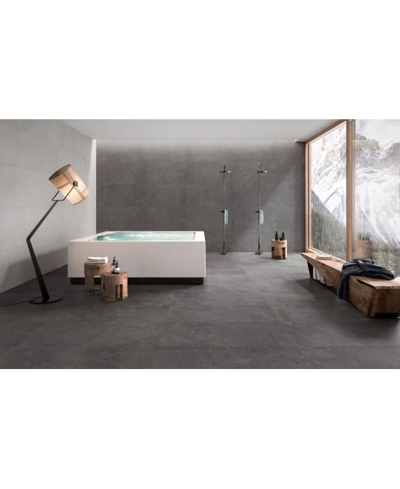 Carrelage imitation pierre moderne 90x90cm rectifié, santastone dark au sol et au mur