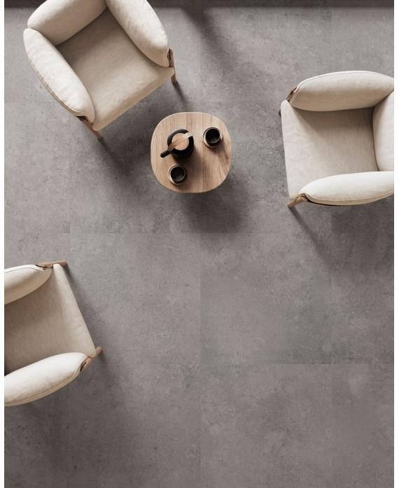 Carrelage imitation pierre moderne mat 60x60cm rectifié santaset gris