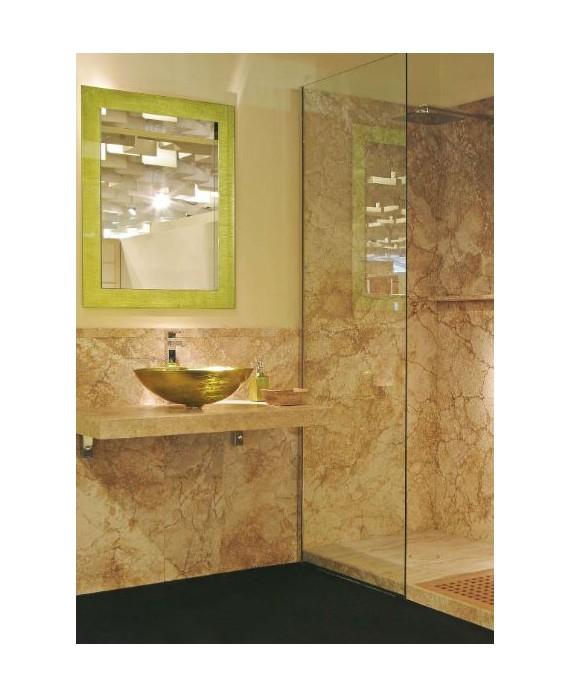 miroir avec cadre en verre décoré couleur pistache 70x90cm