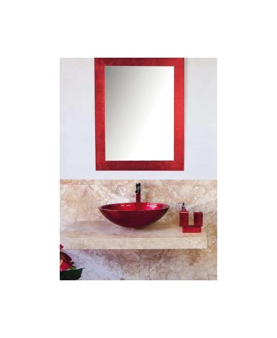 miroir avec cadre en verre décoré couleur rouge 70x90cm