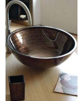 miroir avec cadre en verre décoré couleur tabac 70x90cm