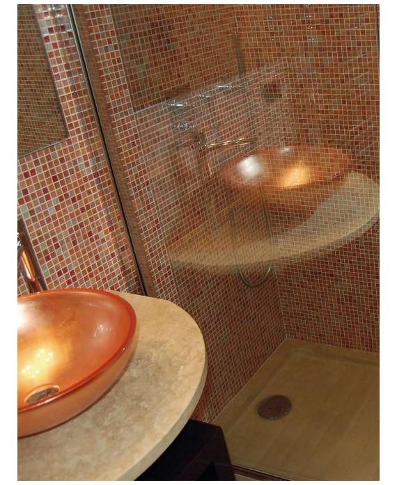 miroir avec cadre en verre décoré couleur cuivre 70x90cm