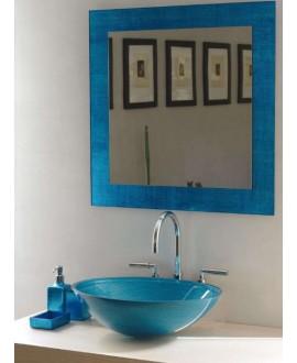 miroir avec cadre en verre décoré couleur turquoise 70x70cm