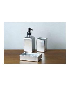 ensemble d'accessoires de lavabo en verre décorés couleur argent