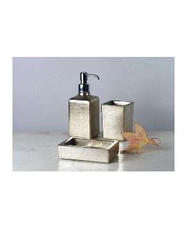 ensemble d'accessoires de lavabo en verre décorés couleur blanc perle