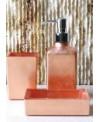 ensemble d'accessoires de lavabo en verre décorés couleur cuivre
