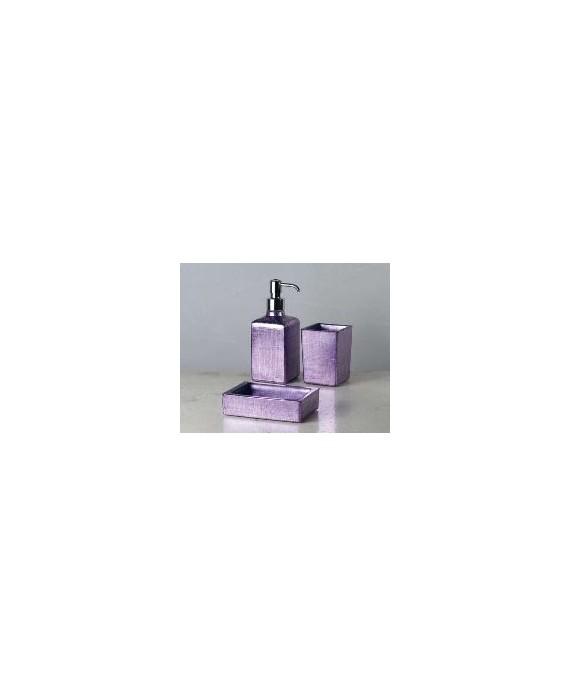 ensemble d'accessoires de lavabo en verre décorés couleur lilla