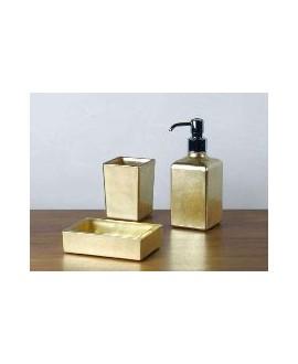 ensemble d'accessoires de lavabo en verre décorés couleur or