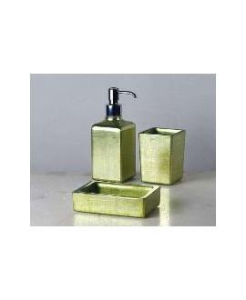 ensemble d'accessoires de lavabo en verre décorés couleur pistache
