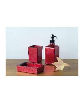ensemble d'accessoires de lavabo en verre décorés couleur rouge