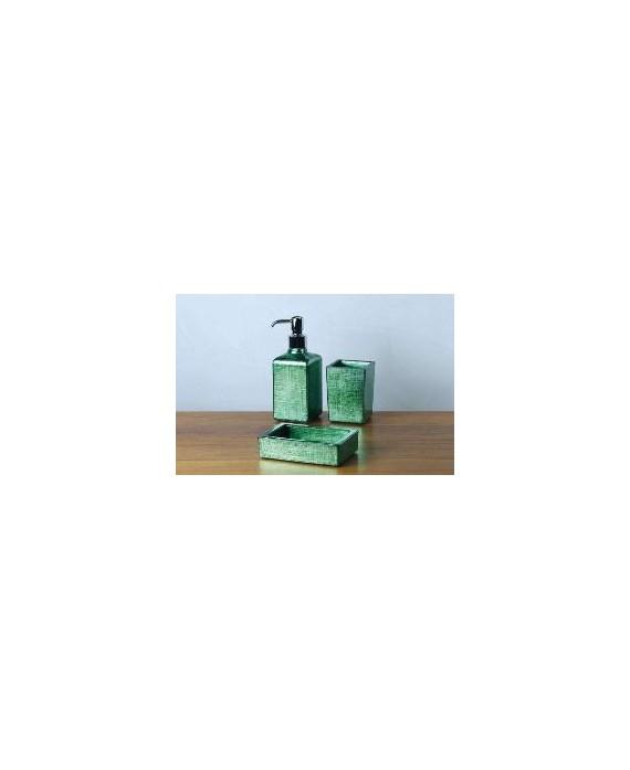 ensemble d'accessoires de lavabo en verre décorés couleur vert émeraude