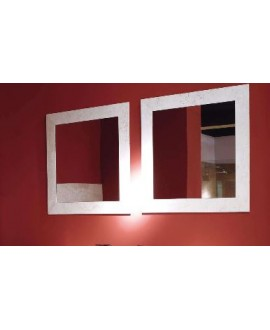 miroir 70x70 cm avec un cadre en travertin blanc rapalano