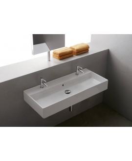 Vasque en céramique émaillée blanc ou noir mat scateoreme 2.0 120x46x14.5cm 5107/R-120B avec 2 trous.