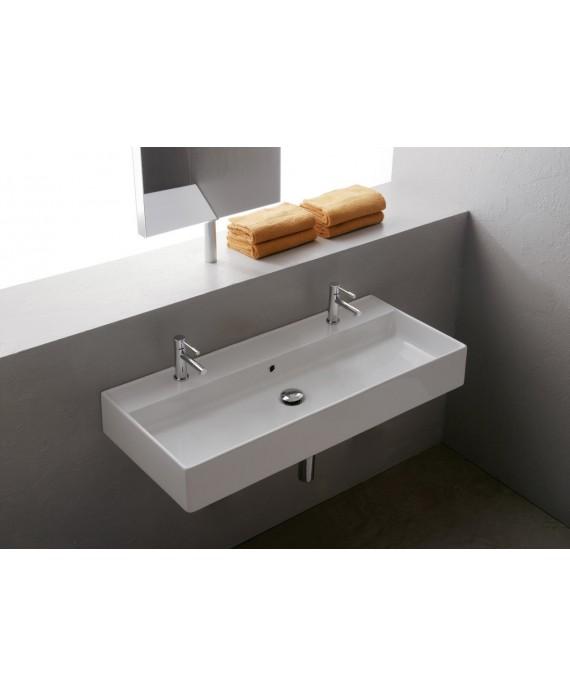Vasque en céramique émaillée scateoremeR à poser ou suspendu 120x46x14.5cm