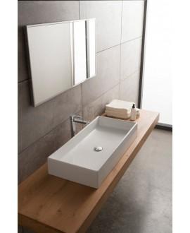 Vasque en céramique émaillée blanc et noir mat à poser 80x40x14cm scateoreme 2.0 5102