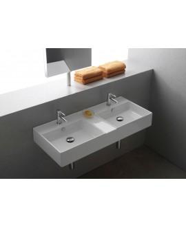 Vasque teoremeR blanc brillant, à poser ou suspendu 106x46x14 cm