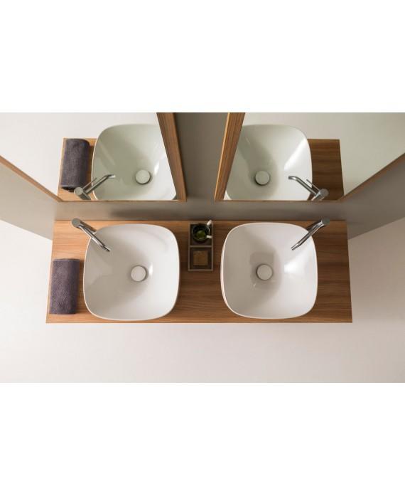 vasque en céramique émaillée scamoonP blanc brillant à poser 42x42x18cm