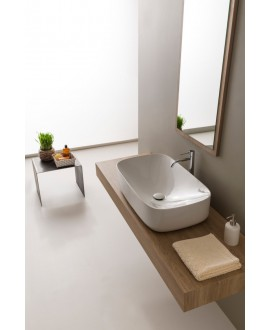 vasque en céramique émaillée scamoonP blanc brillant à poser 72x42x18cm