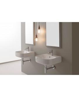 vasque en céramique émaillée scamoonR blanc brillant à poser ou suspendu 50x45x15 cm