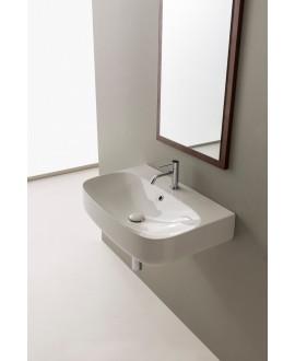 vasque  en céramique émaillée scamoonR blanc brillant à poser ou suspendu 70x45x15 cm