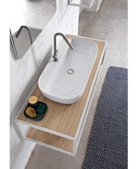 Vasque en céramique émaillée scaglam à poser ou suspendue 76x38x14cm 1801