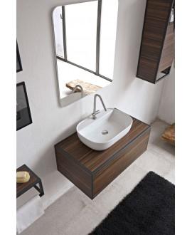 Vasque en céramique émaillée scaglam à poser ou suspendue 55x42x14 cm 1811