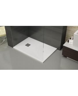 Receveur de douche extra plat liscio blanc avec bonde horizontale