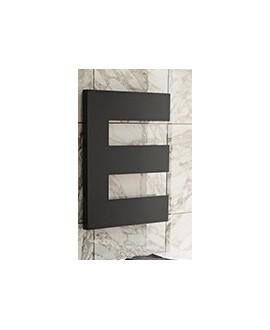sèche-serviette radiateur électrique design, salle de bain Antpetine gauche noir mat 68.5x55cm