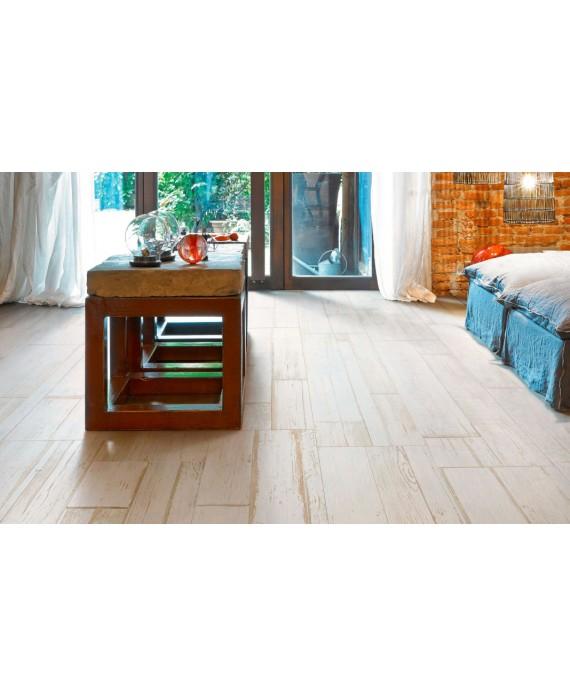 Carrelage imitation, parquet blanc contemporain, chambre, 15X120cm, rectifié, Santablend blanc