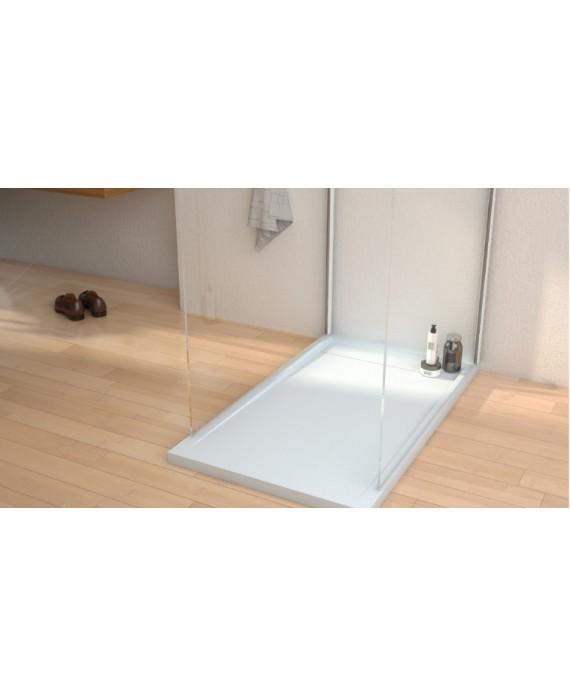Receveur de douche Kore blanc avec caniveau en résine avec bonde horizontale