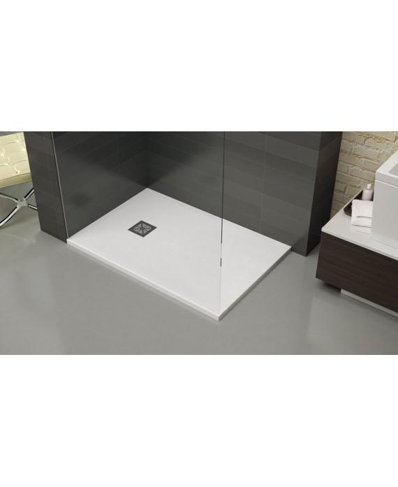 Receveur de douche extra plat st-one  blanc avec bonde verticale
