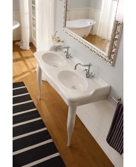Vasque en céramique émaillée scacastellana double L:126cm P:52,5cm H:20cm