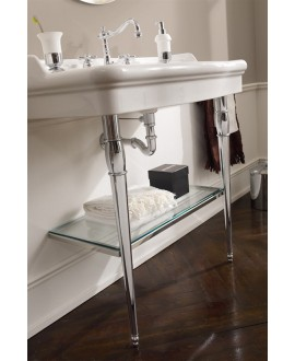 Vasque Castellana blanc brillant L:91cm P:53,5cm H:19.5cm avec pieds métalliques