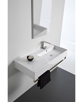 Vasque teoremeR  à poser ou suspendue, vasque à droite, 101x46x14cm