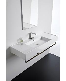 Vasque teoremeR  à poser ou suspendue, vasque au centre, 121x46x14cm