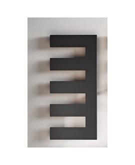 Sèche-serviette radiateur électrique design, salle de bain Antpetine droit noir mat 122.5x55cm