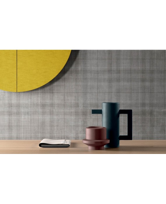 Carrelage imitation tissu grand format 90x90cm, santaset tartan gris