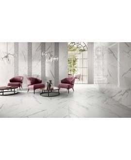 Carrelage imitation marbre satiné 60x120cm rectifié, statuario venato