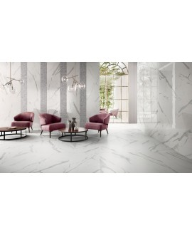 Carrelage imitation marbre brillant 60x120cm, statuario venato