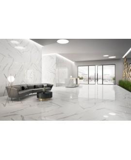 Carrelage imitation marbre blanc veiné de gris brillant 120x120cm rectifié, statuario venato
