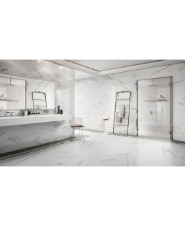 Carrelage imitation marbre poli brillant rectifié 60x60cm, statuario venato brillant