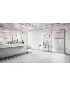 Carrelage salle de bain imitation marbre poli brillant rectifié 60x60cm, statuario venato brillant au sol et au mur