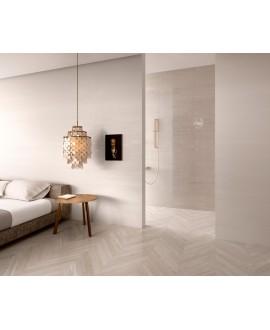 Carrelage salle de bain imitation parquet chevron moderne 9.4x49cm rectifié, shadewood chevron light au sol