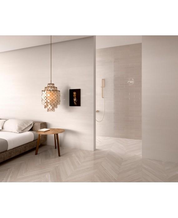 Carrelage moderne mural santashadebrick blanc brillant 7.3x30cm