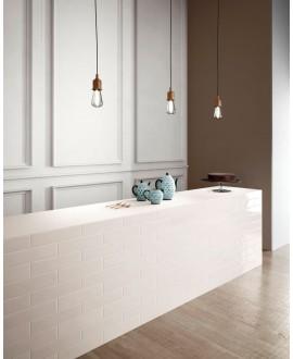 Carrelage shadebrick blanc brillant 7.3x30cm au mur