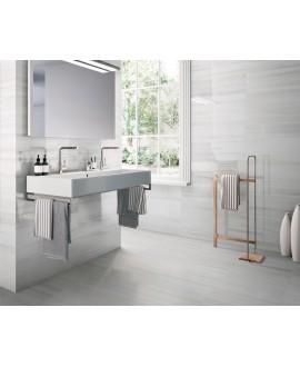 Carrelage salle de bain imitation marbre poli gris brillant rectifié 60x60cm, bianco lasa  au sol et au mur