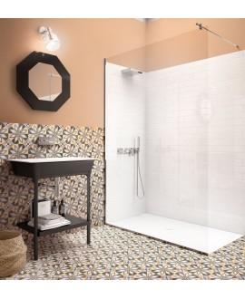 Carrelage patchwork 01 couleur jaune, bleu, orangé, effet carreau ciment 20x20x1cm rectifié dans la salle de bains, R10